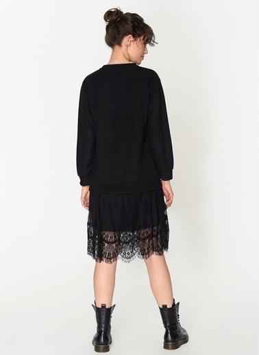 Loves You Selanik Garnili Eteği Tül Dantel Elbise Siyah